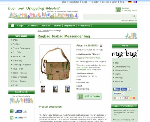 Relaunch: Product detail page Eco- and Upcycling-Market
