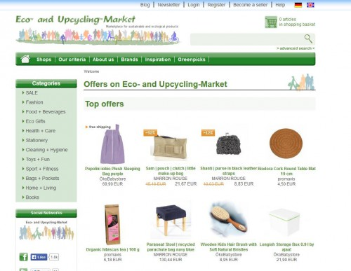 Relaunch: Homepage Eco- and Upcycling-Market