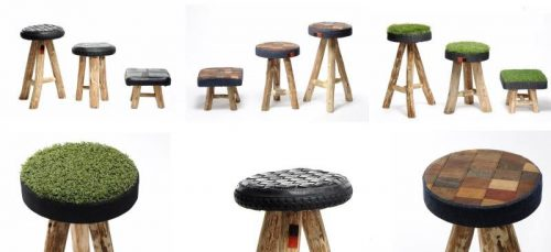 upcycled seating furniture - stools made of recycled materials