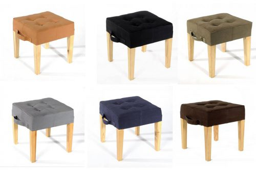 upcycled seating furniture - stools from recycled canvas