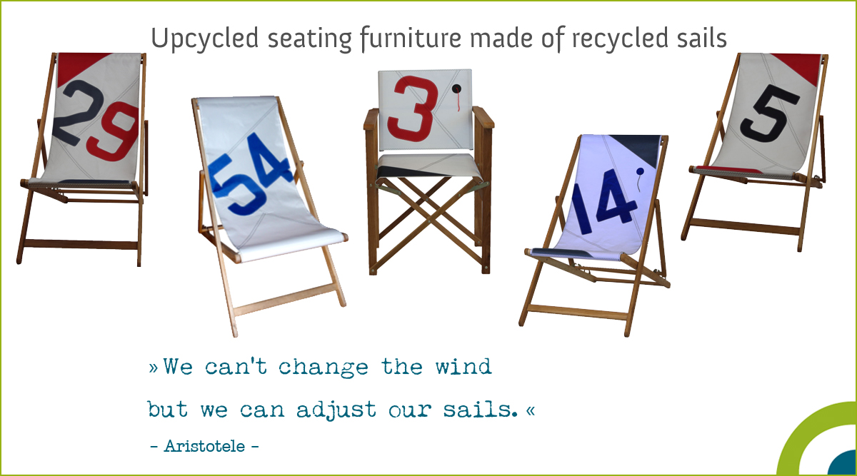 upcycled seating furniture - deck chair made of recycled sails