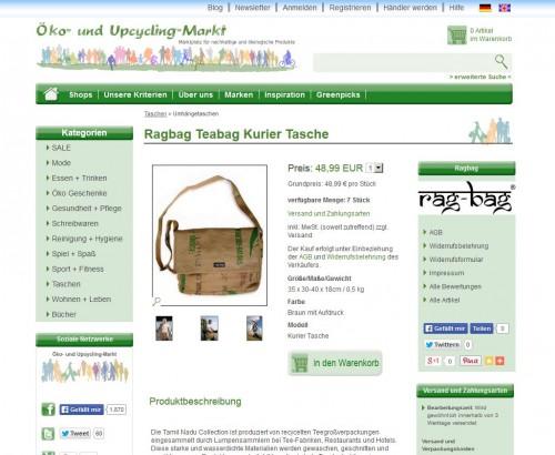 Relaunch: Produktseite bei Öko- und Upcycling-Markt