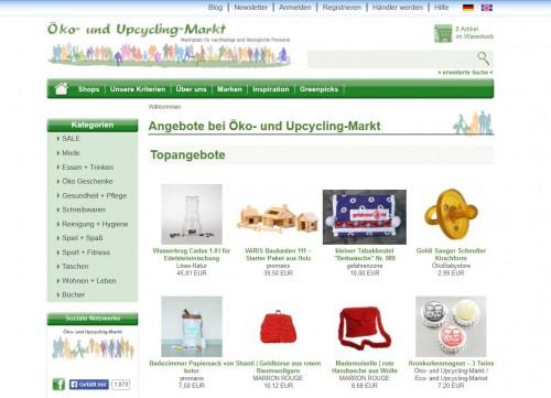 Relaunch: Startseite Öko- und Upcycling-Markt
