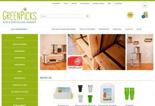 Relaunch: Startseite Greenpicks – Eco & Upcycling Market