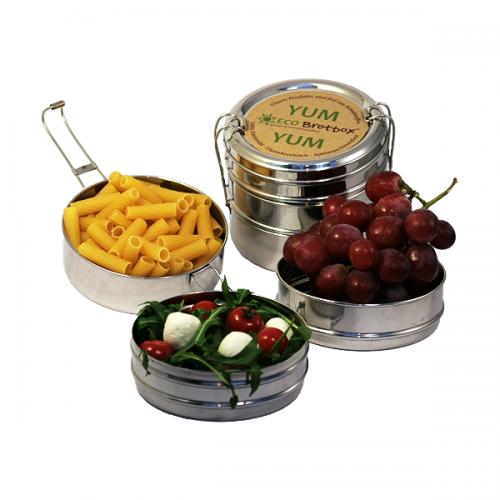 Nachhaltigkeit in Haushalt, Küche & Co.: Henkelmann aus Edelstahl, in Indien auch Tiffin Box genannt
