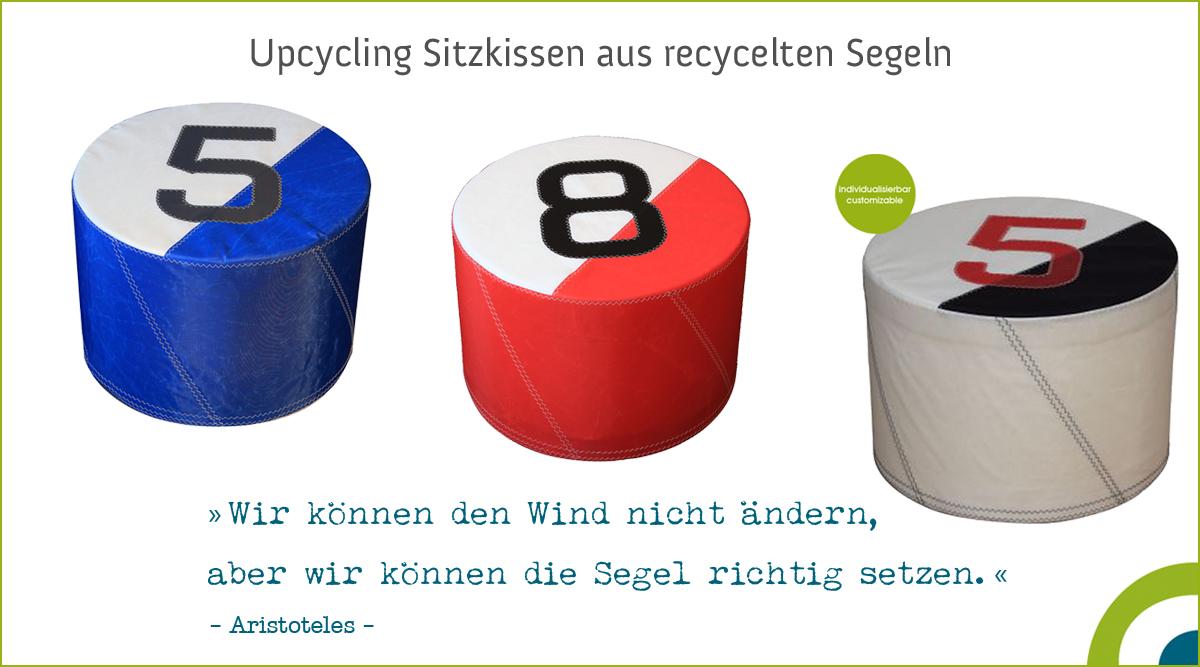 Upcycling Sitzmöbel - Sitzkissen aus recycelten Segeln