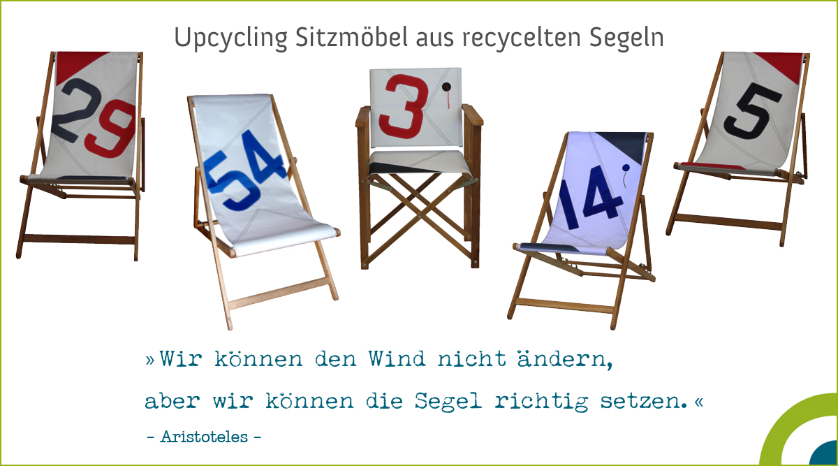 Upcycling Sitzmöbel - Deckchair aus recycelten Segeln