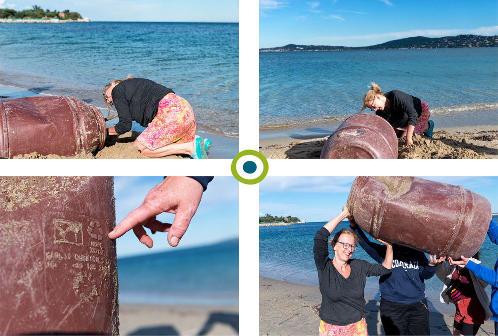 Plastikmüllsammelaktion: Plastikfass-Bergung am Strand in Port Grimaud