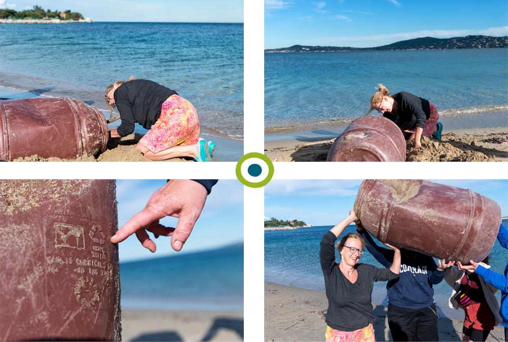 Plastikmüllsammelaktion: Plastikfass-Bergung am Strand in Port Grimaud