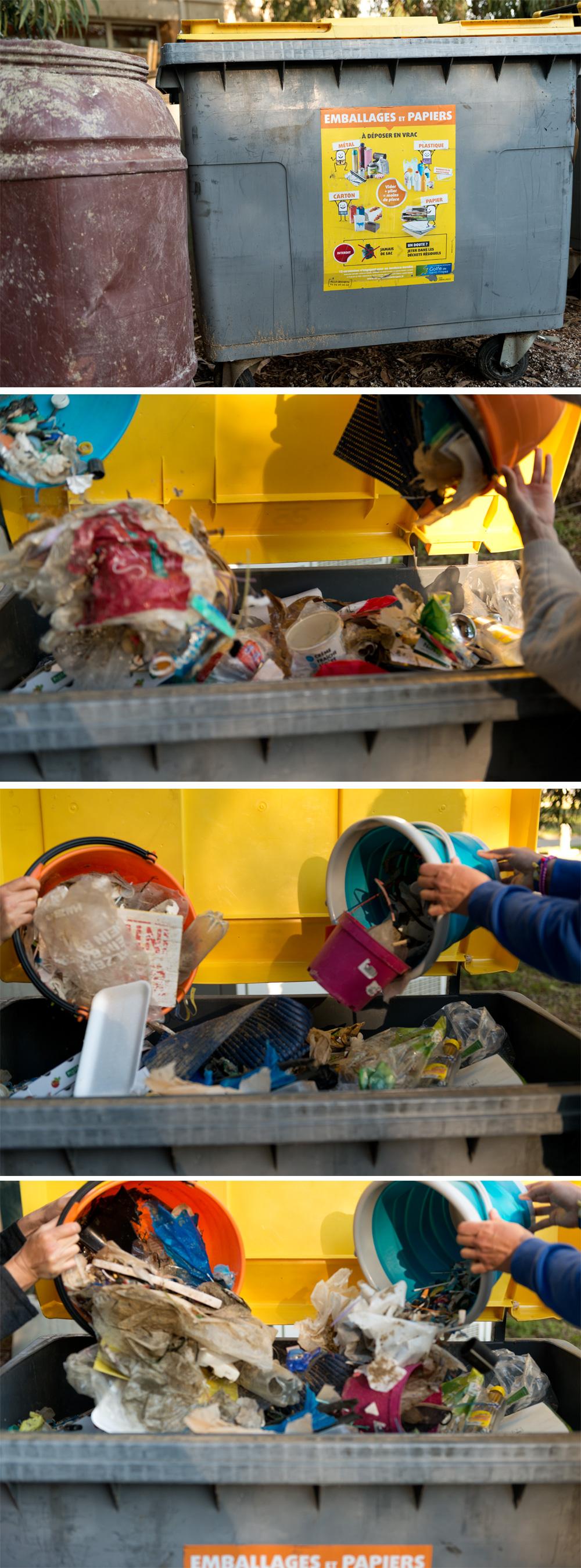 Französische Wertstofftonne für Recycling